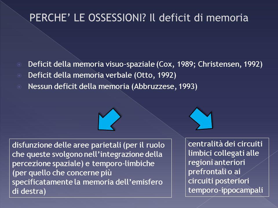 Deficit della memoria visuo-spaziale (Cox, 1989; Christensen, 1992) Deficit della memoria verbale (Otto, 1992) Nessun deficit della memoria (Abbruzzes