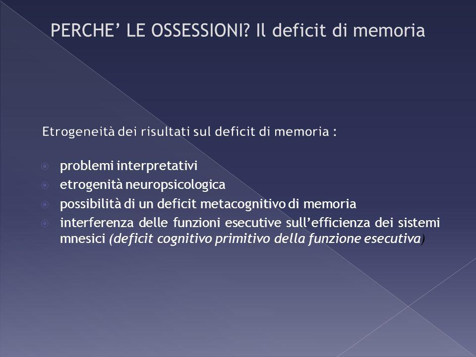 problemi interpretativi etrogenità neuropsicologica possibilità di un deficit metacognitivo di memoria interferenza delle funzioni esecutive sulleffic