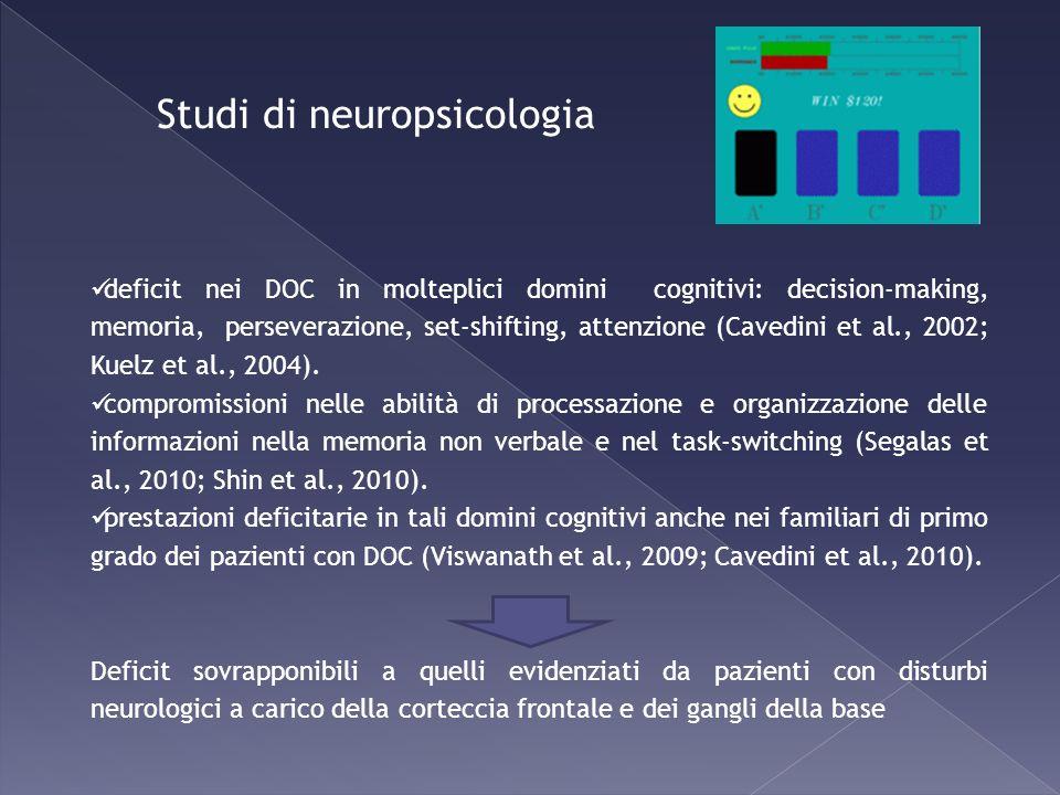 Studi di neuropsicologia deficit nei DOC in molteplici domini cognitivi: decision-making, memoria, perseverazione, set-shifting, attenzione (Cavedini