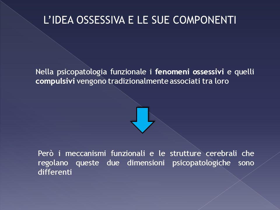 Nella psicopatologia funzionale i fenomeni ossessivi e quelli compulsivi vengono tradizionalmente associati tra loro Però i meccanismi funzionali e le
