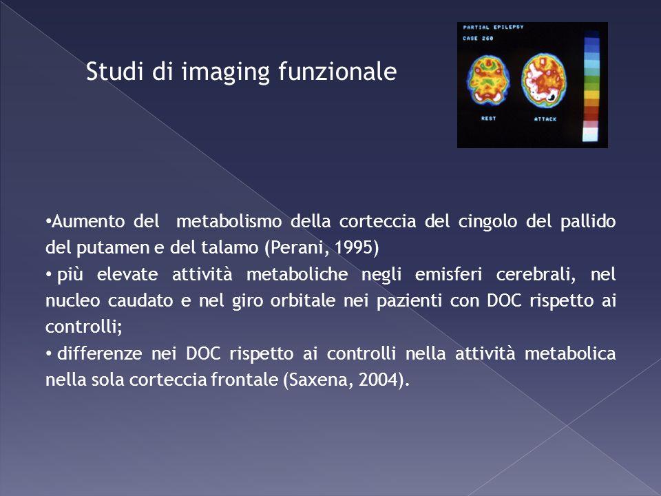 Aumento del metabolismo della corteccia del cingolo del pallido del putamen e del talamo (Perani, 1995) più elevate attività metaboliche negli emisfer