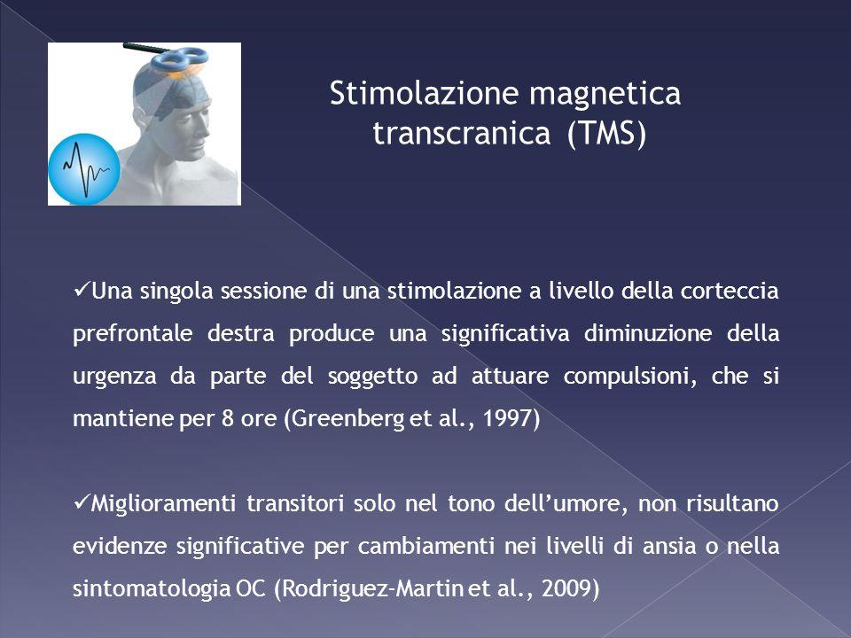Stimolazione magnetica transcranica (TMS) Una singola sessione di una stimolazione a livello della corteccia prefrontale destra produce una significat
