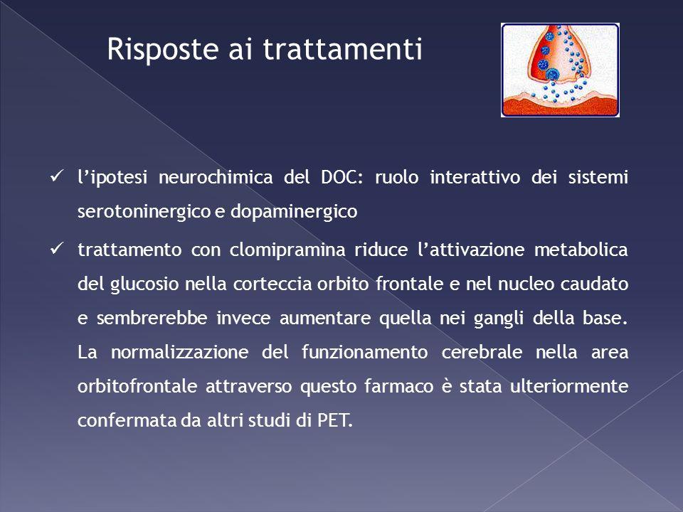 lipotesi neurochimica del DOC: ruolo interattivo dei sistemi serotoninergico e dopaminergico trattamento con clomipramina riduce lattivazione metaboli