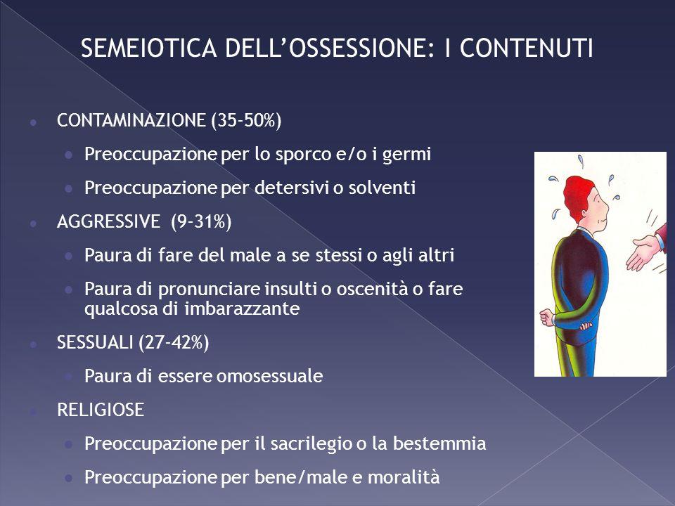CONTAMINAZIONE (35-50%) Preoccupazione per lo sporco e/o i germi Preoccupazione per detersivi o solventi AGGRESSIVE (9-31%) Paura di fare del male a s