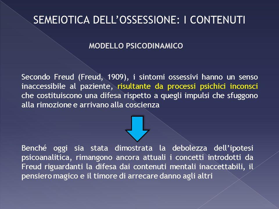 difesa Secondo Freud (Freud, 1909), i sintomi ossessivi hanno un senso inaccessibile al paziente, risultante da processi psichici inconsci che costitu