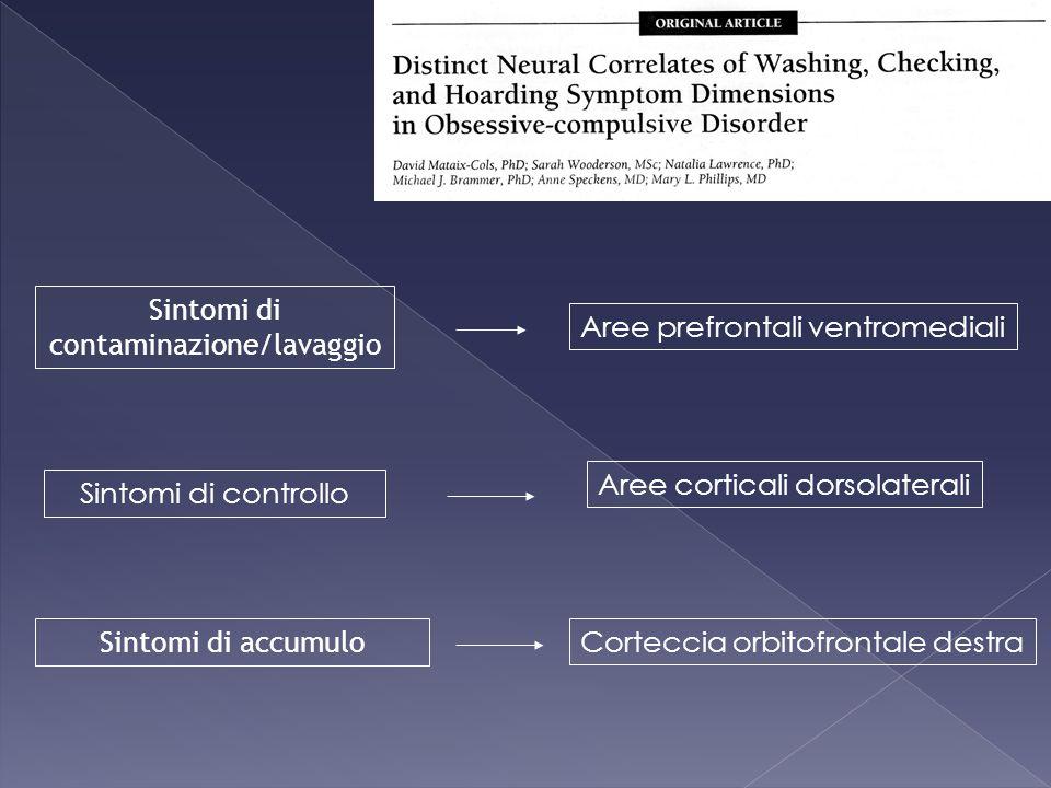 Sintomi di contaminazione/lavaggio Sintomi di controllo Sintomi di accumulo Aree prefrontali ventromediali Aree corticali dorsolaterali Corteccia orbi