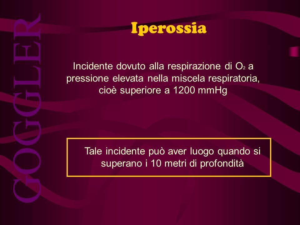 GOGGLER Iperossia Incidente dovuto alla respirazione di O 2 a pressione elevata nella miscela respiratoria, cioè superiore a 1200 mmHg Tale incidente