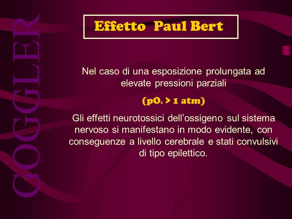 GOGGLER Nel caso di una esposizione prolungata ad elevate pressioni parziali (pO 2 > 1 atm) Gli effetti neurotossici dellossigeno sul sistema nervoso