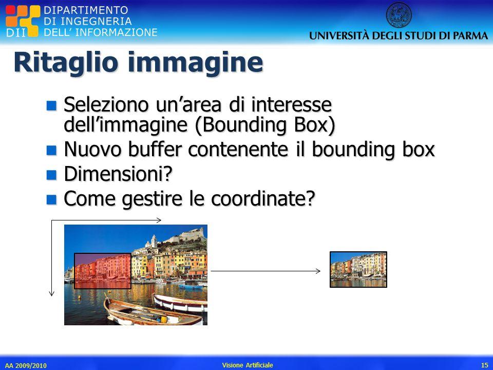Ritaglio immagine n Seleziono unarea di interesse dellimmagine (Bounding Box) n Nuovo buffer contenente il bounding box n Dimensioni? n Come gestire l