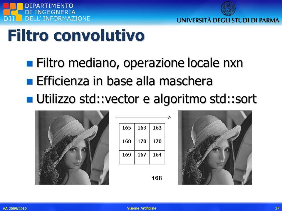 Filtro convolutivo n Filtro mediano, operazione locale nxn n Efficienza in base alla maschera n Utilizzo std::vector e algoritmo std::sort AA 2009/201