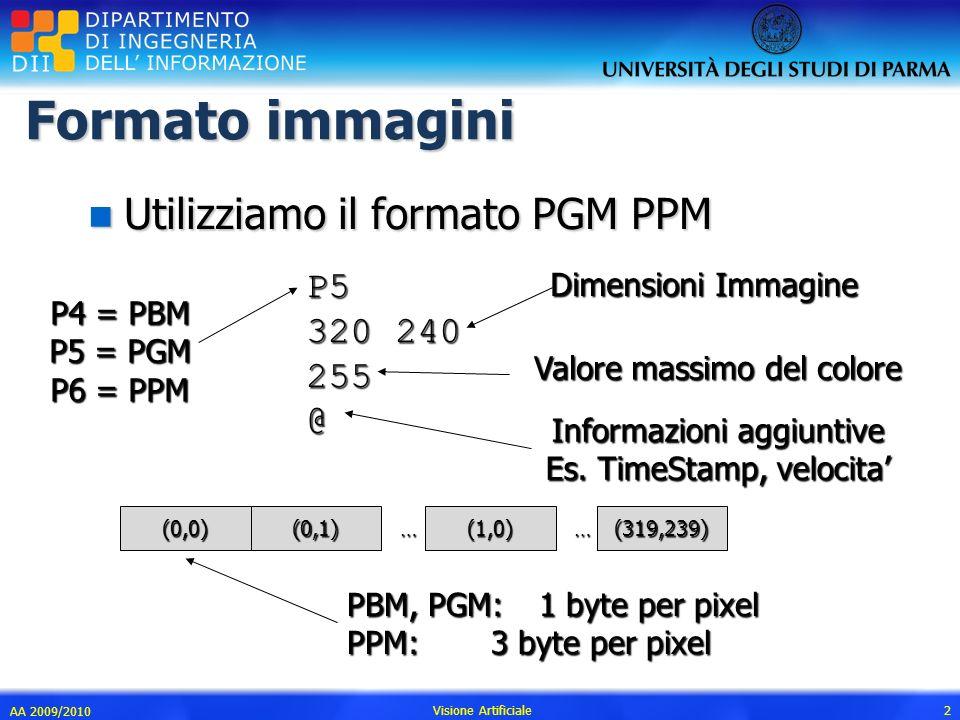 … AA 2009/2010 Visione Artificiale 2 Formato immagini n Utilizziamo il formato PGM PPM P5 320 240 255@ P4 = PBM P5 = PGM P6 = PPM Dimensioni Immagine