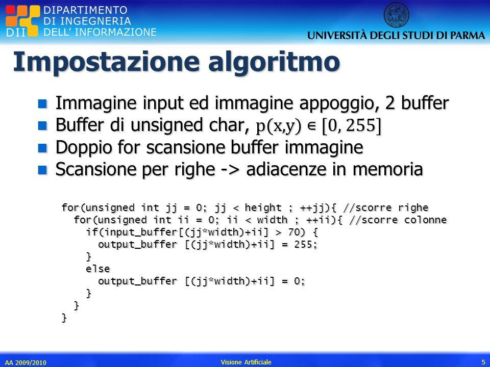Impostazione algoritmo n Immagine input ed immagine appoggio, 2 buffer Buffer di unsigned char, p(x,y) [0, 255] Buffer di unsigned char, p(x,y) [0, 25