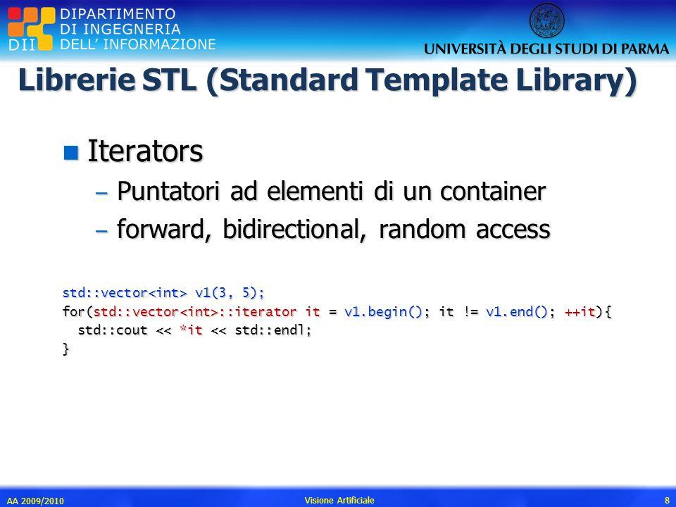 Librerie STL (Standard Template Library) n Iterators – Puntatori ad elementi di un container – forward, bidirectional, random access std::vector v1(3,