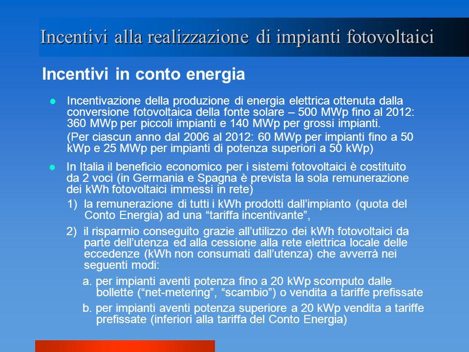 Incentivi alla realizzazione di impianti fotovoltaici Incentivi in conto energia Incentivazione della produzione di energia elettrica ottenuta dalla c