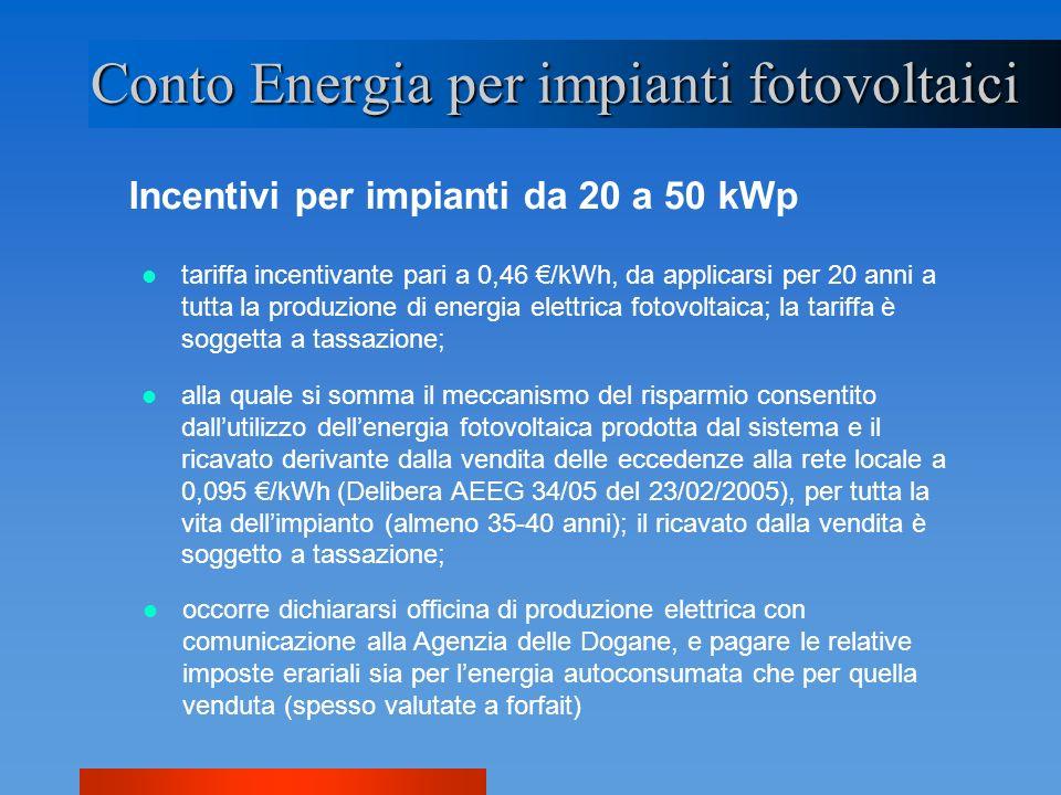 Incentivi per impianti da 20 a 50 kWp Conto Energia per impianti fotovoltaici alla quale si somma il meccanismo del risparmio consentito dallutilizzo