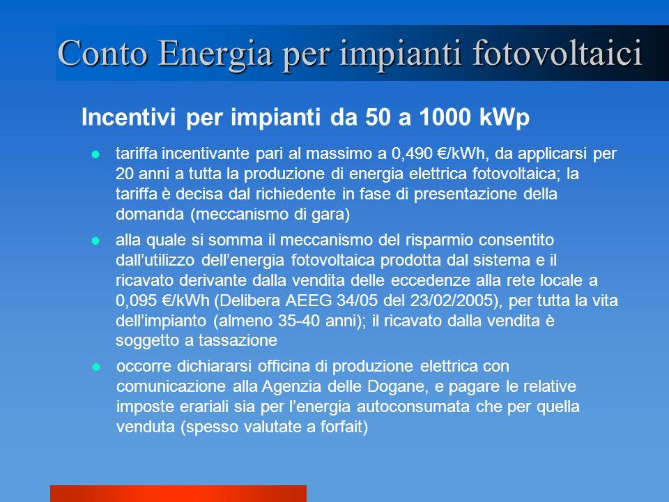 Incentivi per impianti da 50 a 1000 kWp Conto Energia per impianti fotovoltaici alla quale si somma il meccanismo del risparmio consentito dallutilizz