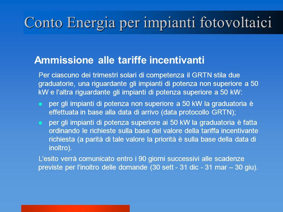 Ammissione alle tariffe incentivanti Conto Energia per impianti fotovoltaici Per ciascuno dei trimestri solari di competenza il GRTN stila due graduat