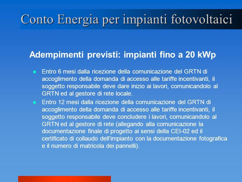 Adempimenti previsti: impianti fino a 20 kWp Conto Energia per impianti fotovoltaici Entro 6 mesi dalla ricezione della comunicazione del GRTN di acco