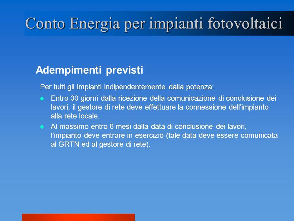 Adempimenti previsti Conto Energia per impianti fotovoltaici Per tutti gli impianti indipendentemente dalla potenza: Entro 30 giorni dalla ricezione d