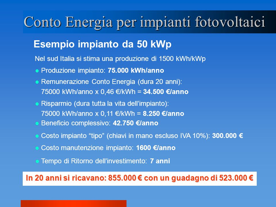 Esempio impianto da 50 kWp Conto Energia per impianti fotovoltaici Nel sud Italia si stima una produzione di 1500 kWh/kWp Produzione impianto: 75.000