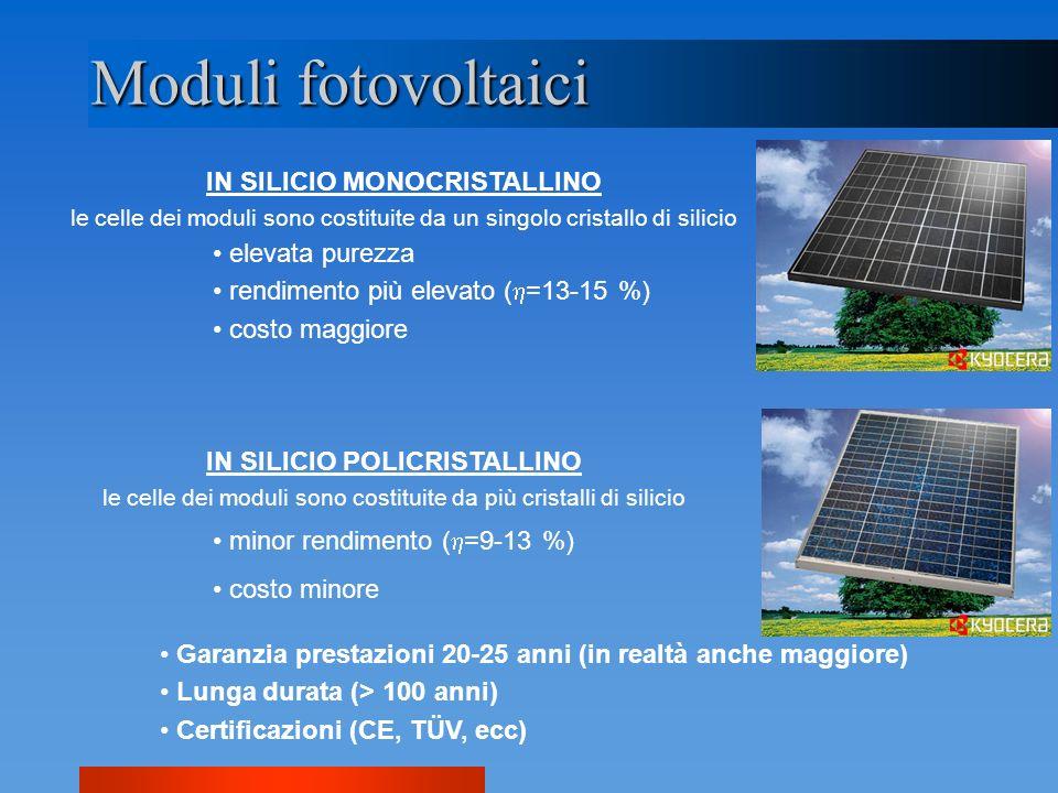 Moduli fotovoltaici IN SILICIO MONOCRISTALLINO le celle dei moduli sono costituite da un singolo cristallo di silicio elevata purezza rendimento più e