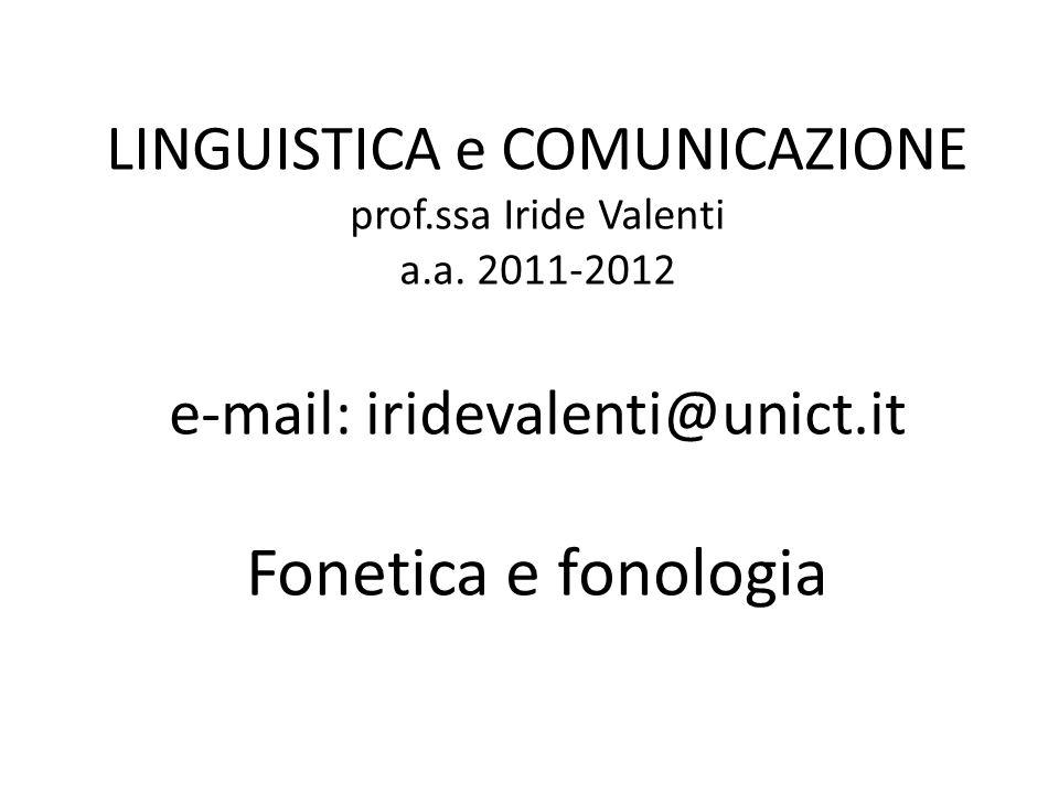 LINGUISTICA e COMUNICAZIONE prof.ssa Iride Valenti a.a. 2011-2012 e-mail: iridevalenti@unict.it Fonetica e fonologia