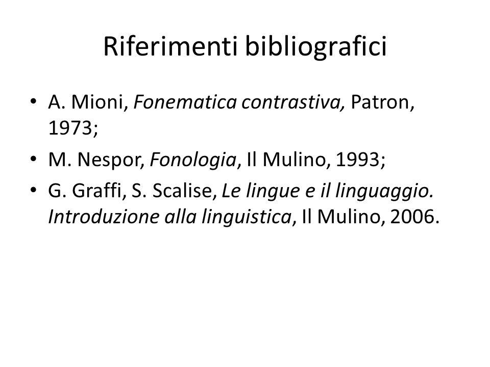 Riferimenti bibliografici A. Mioni, Fonematica contrastiva, Patron, 1973; M. Nespor, Fonologia, Il Mulino, 1993; G. Graffi, S. Scalise, Le lingue e il