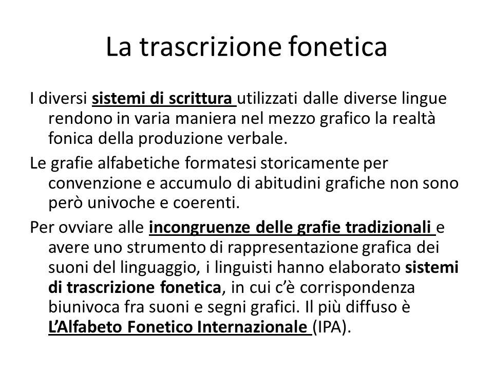 La trascrizione fonetica I diversi sistemi di scrittura utilizzati dalle diverse lingue rendono in varia maniera nel mezzo grafico la realtà fonica de