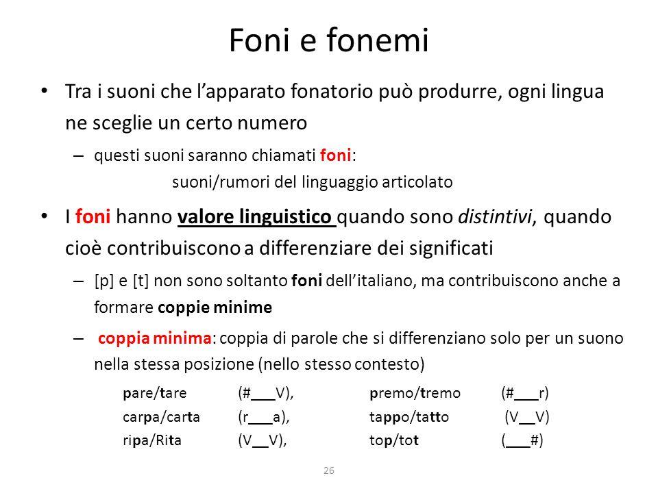 26 Foni e fonemi Tra i suoni che lapparato fonatorio può produrre, ogni lingua ne sceglie un certo numero – questi suoni saranno chiamati foni: suoni/