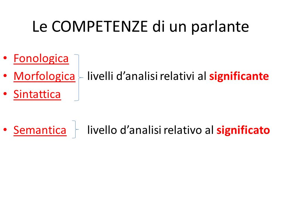 Le COMPETENZE di un parlante Fonologica Morfologicalivelli danalisi relativi al significante Sintattica Semanticalivello danalisi relativo al significato