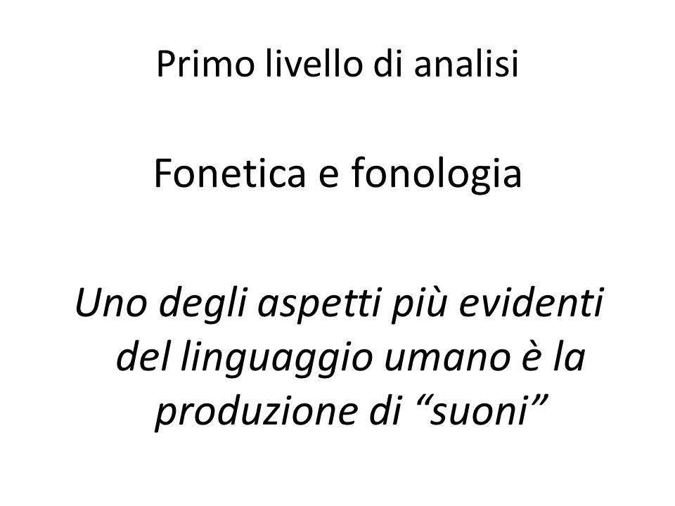 Primo livello di analisi Fonetica e fonologia Uno degli aspetti più evidenti del linguaggio umano è la produzione di suoni