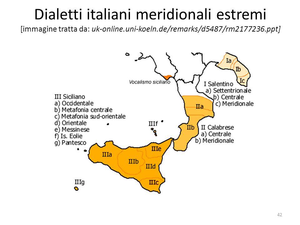 Dialetti italiani meridionali estremi [immagine tratta da: uk-online.uni-koeln.de/remarks/d5487/rm2177236.ppt] 42