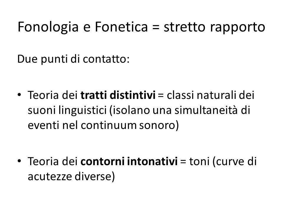 Fonologia e Fonetica = stretto rapporto Due punti di contatto: Teoria dei tratti distintivi = classi naturali dei suoni linguistici (isolano una simultaneità di eventi nel continuum sonoro) Teoria dei contorni intonativi = toni (curve di acutezze diverse)