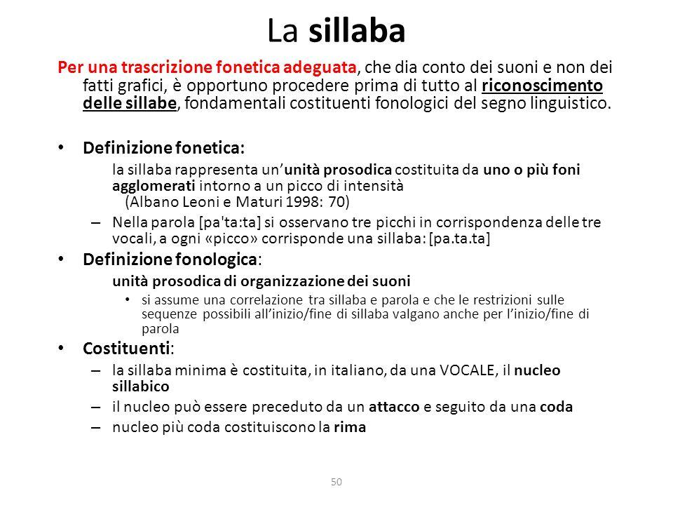 50 La sillaba Per una trascrizione fonetica adeguata, che dia conto dei suoni e non dei fatti grafici, è opportuno procedere prima di tutto al riconoscimento delle sillabe, fondamentali costituenti fonologici del segno linguistico.