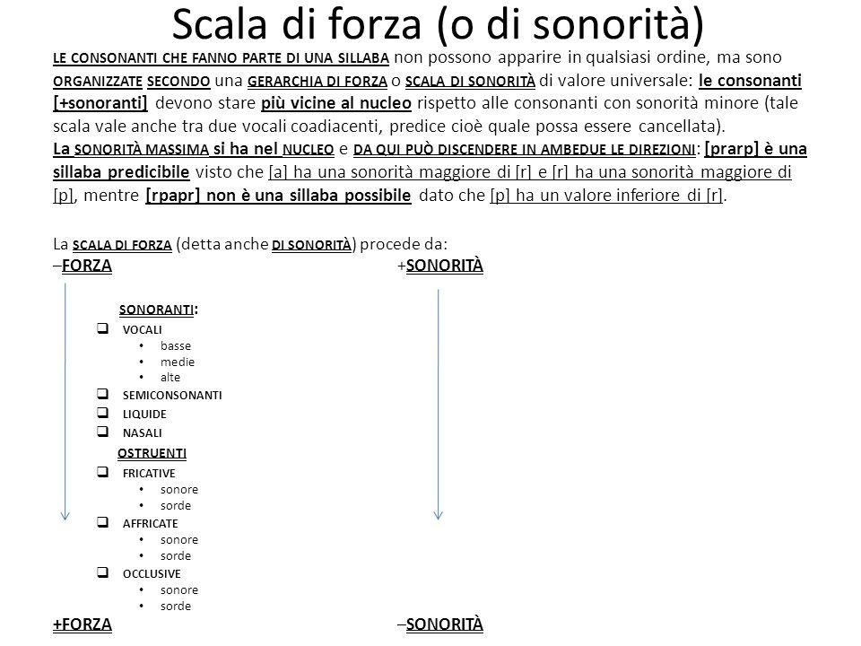 Scala di forza (o di sonorità) La SCALA DI FORZA (detta anche DI SONORITÀ ) procede da: –FORZA+SONORITÀ SONORANTI : VOCALI basse medie alte SEMICONSON
