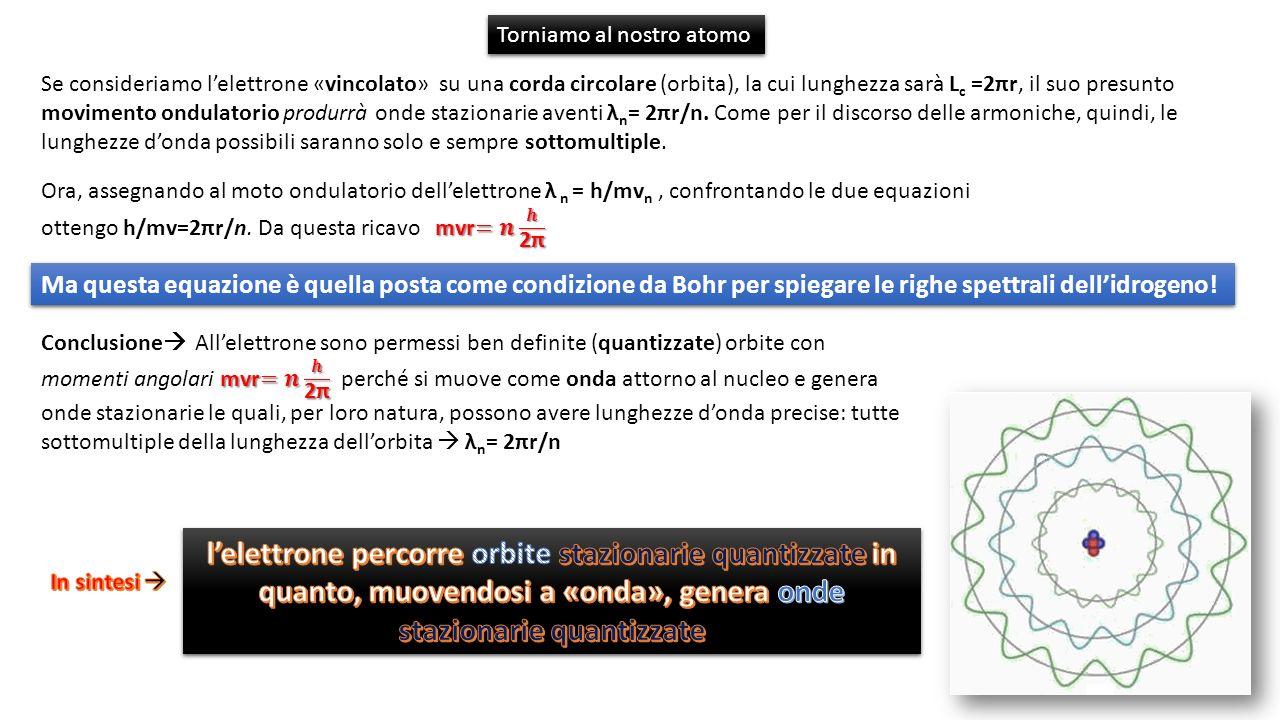 Se consideriamo lelettrone «vincolato» su una corda circolare (orbita), la cui lunghezza sarà L c =2πr, il suo presunto movimento ondulatorio produrrà