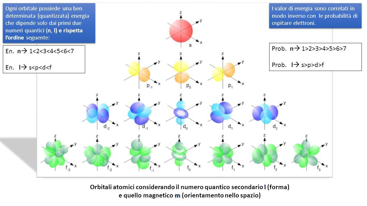 l m Orbitali atomici considerando il numero quantico secondario l (forma) e quello magnetico m (orientamento nello spazio) Ogni orbitale possiede una ben determinata (quantizzata) energia che dipende solo dai primi due numeri quantici (n, l) e rispetta lordine seguente: En.