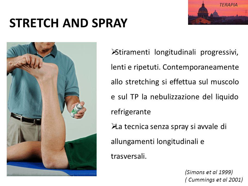 STRETCH AND SPRAY TERAPIA Stiramenti longitudinali progressivi, lenti e ripetuti. Contemporaneamente allo stretching si effettua sul muscolo e sul TP