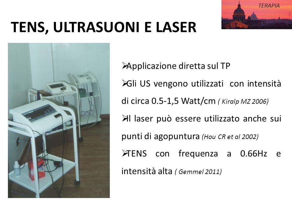 TENS, ULTRASUONI E LASER TERAPIA Applicazione diretta sul TP Gli US vengono utilizzati con intensità di circa 0.5-1,5 Watt/cm ( Kiralp MZ 2006) Il las