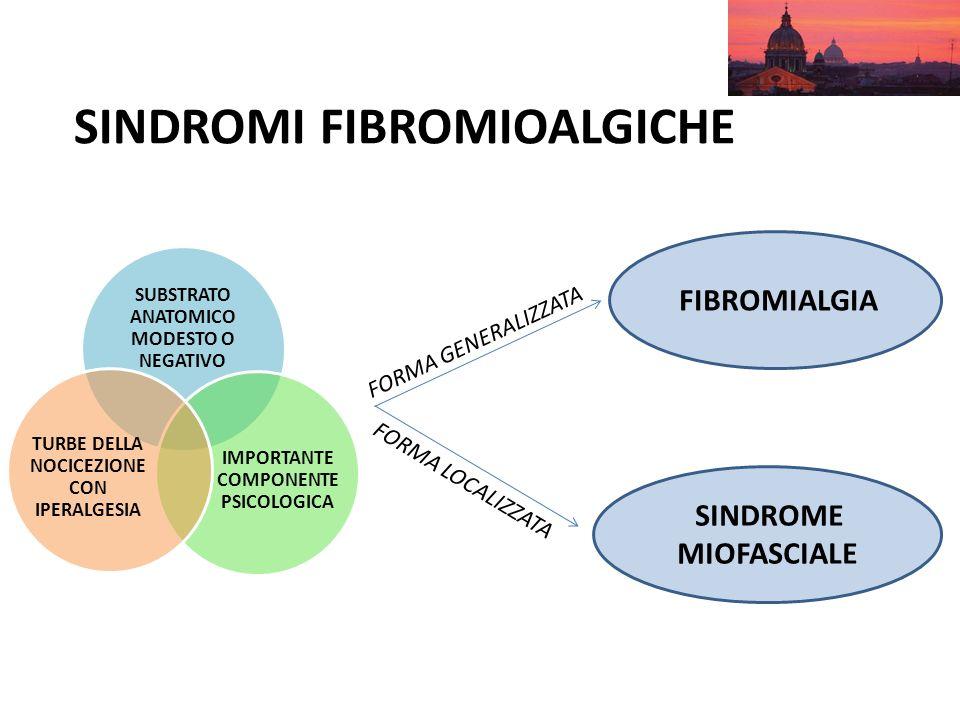 SINDROMI FIBROMIOALGICHE SUBSTRATO ANATOMICO MODESTO O NEGATIVO IMPORTANTE COMPONENTE PSICOLOGICA TURBE DELLA NOCICEZIONE CON IPERALGESIA SINDROME MIO
