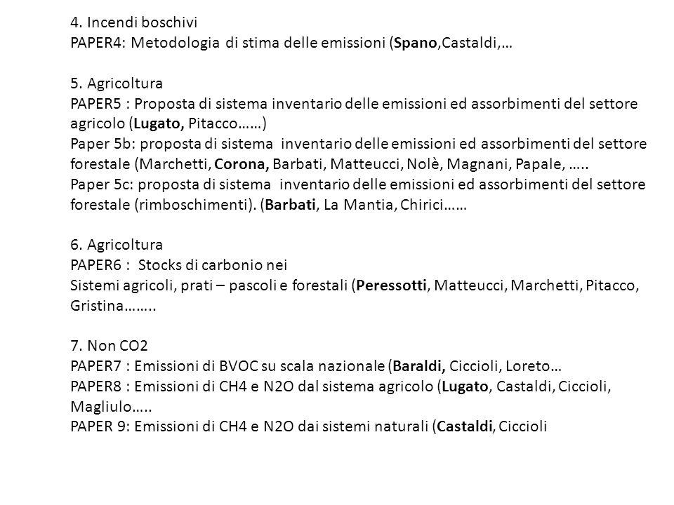 4. Incendi boschivi PAPER4: Metodologia di stima delle emissioni (Spano,Castaldi,… 5.