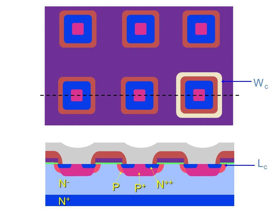 P P+P+P+P+ N-N-N-N- N+N+N+N+ Struttura 3D del PMOS Il source è costituiti da molte aree connesse in parallelo e circondate dalle regioni di gate.