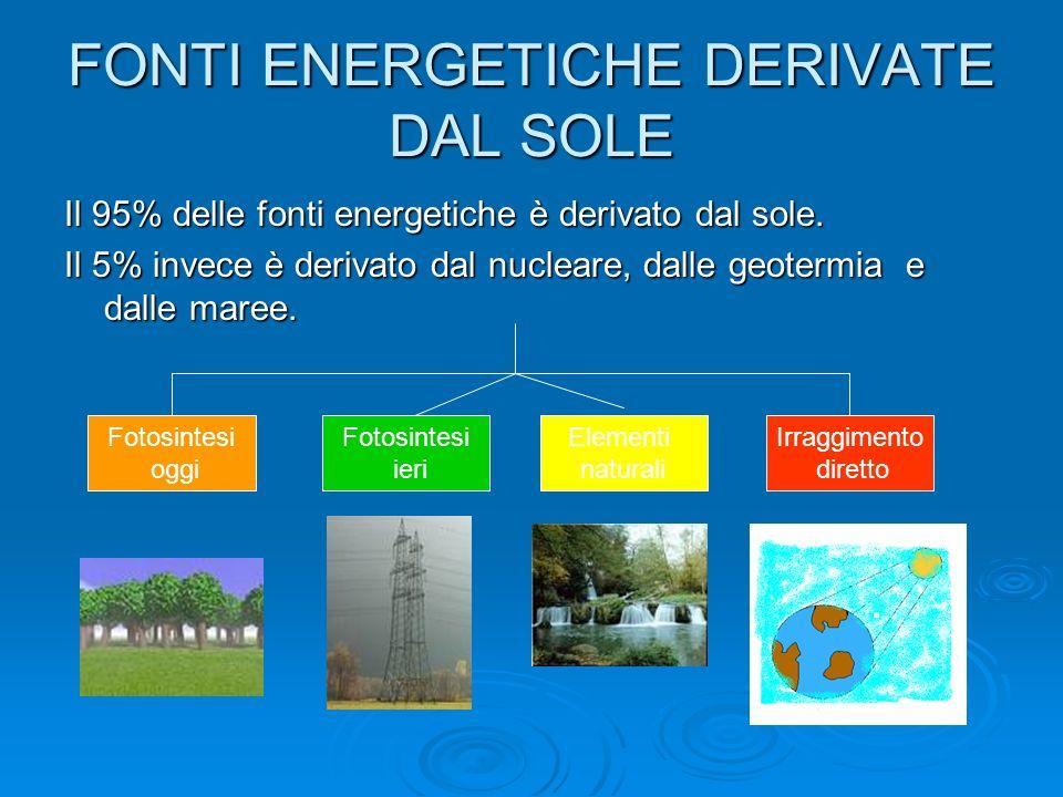 FONTI ENERGETICHE DERIVATE DAL SOLE Il 95% delle fonti energetiche è derivato dal sole.