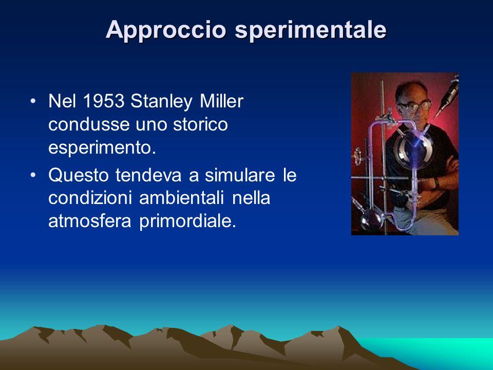 Approccio sperimentale Nel 1953 Stanley Miller condusse uno storico esperimento. Questo tendeva a simulare le condizioni ambientali nella atmosfera pr