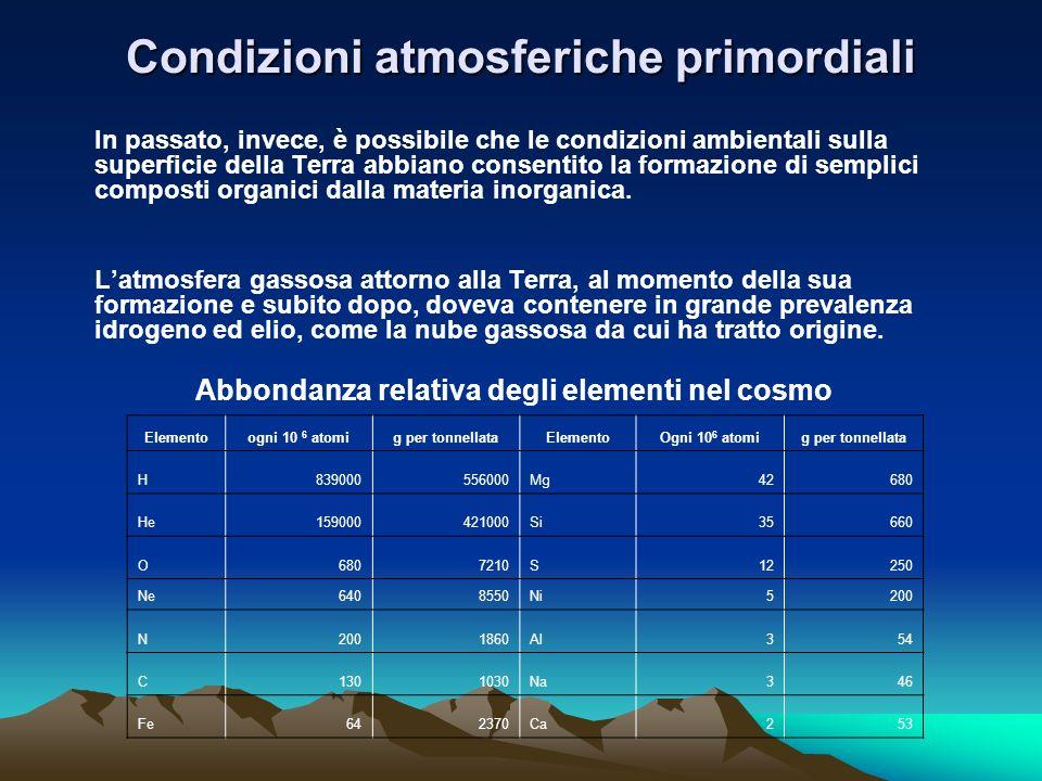 Condizioni atmosferiche primordiali In passato, invece, è possibile che le condizioni ambientali sulla superficie della Terra abbiano consentito la fo