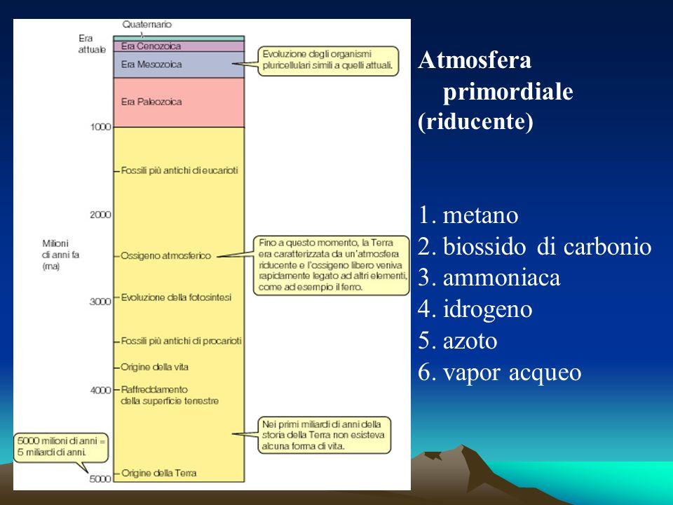 Atmosfera primordiale (riducente) 1.metano 2.biossido di carbonio 3.ammoniaca 4.idrogeno 5.azoto 6.vapor acqueo