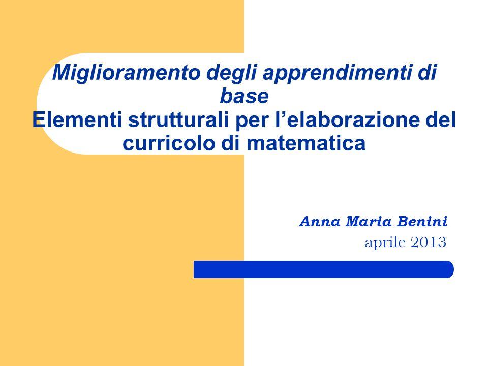 Miglioramento degli apprendimenti di base Elementi strutturali per lelaborazione del curricolo di matematica Anna Maria Benini aprile 2013