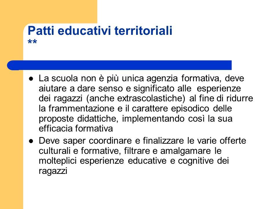Patti educativi territoriali ** La scuola non è più unica agenzia formativa, deve aiutare a dare senso e significato alle esperienze dei ragazzi (anch