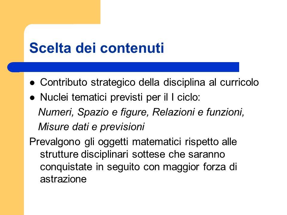 Scelta dei contenuti Contributo strategico della disciplina al curricolo Nuclei tematici previsti per il I ciclo: Numeri, Spazio e figure, Relazioni e