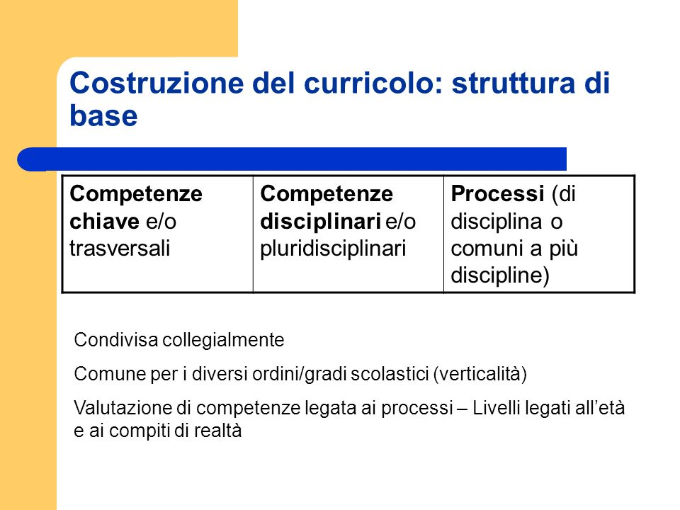 Costruzione del curricolo: struttura di base Competenze chiave e/o trasversali Competenze disciplinari e/o pluridisciplinari Processi (di disciplina o